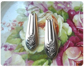 Belfry spoon earrings, Vintage, Upcycled, Bridesmaid Gift, Vintage Wedding