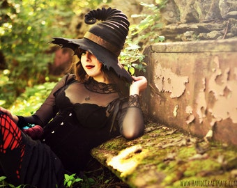 "Costume Hat. ""Tattered Brim"" Witch Hat. Wizard Hat. Fantasy Hat. Cosplay Hat. LARP."