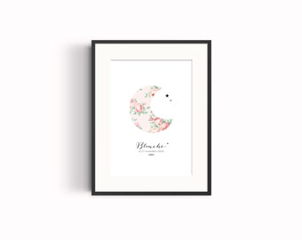 Birth announcement poster, shabby pattern