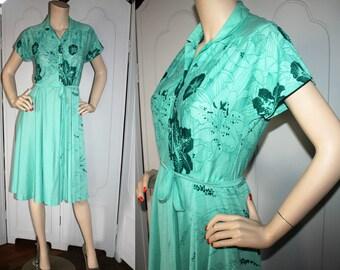 Vintage Sea Green Hawaiian Knit Dress. Late 70's to Early 80's. Small.