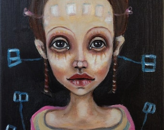 Original, art, figurative, abstract, future, girl, biology, painting