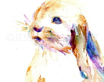 """Bunny 11"""" x 14"""" Watercolor, """"Cottontail"""" Watercolor, Bunny Painting, Woodland Painting, Rabbit Art, Nursery Art, Baby bunny art, Watercolor"""