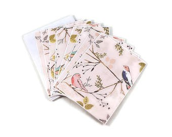 Blank Note Cards, Bird And Branches, Pink Note Cards, Note Card Set, Personal Stationery, Blank Notecards, Note Cards With Envelopes, Cute