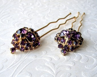 Sparkling Amethyst Rhinestone Hairpin Purple Hair Comb Bridesmaid Accessory Pageant Jewelry Ballroom Hairpiece Prom Headpiece Wedding Bridal