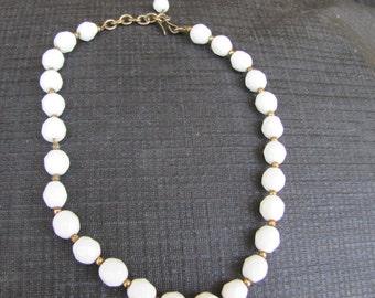 Vintage MIlk Glass Beaded Necklace