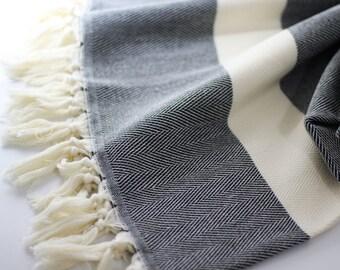 Herringbone Blanket | Black | Throw Blanket | Sofa Throw | Turkish Blanket | Turkish Towel | Bath Towel | Wedding Gift | Herringbone
