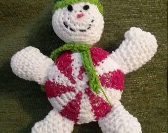 Crocheted Peppermint Snowman Christmas Tree Ornament 3.5 inches Tall
