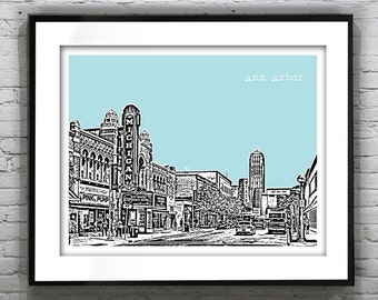Ann Arbor Skyline Poster City Art Print  Michigan MI Landscape Item T1293