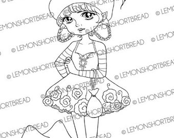 Digital Stamp Toadstool Seeds Fairy, Digi Download, Mushrooms, Autumn Fall, Coloring Page, Fantasy Pixie, Clip Art, Scrapbooking Supply