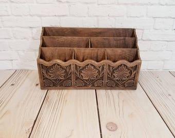Vintage Lerner Faux Carved Wood Desk Caddy Letter Holder Mail Sorter