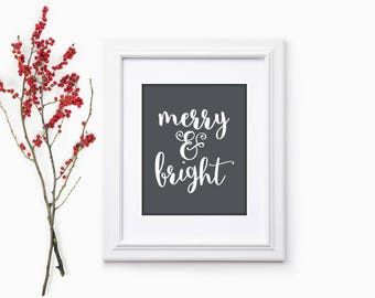 Merry and Bright Print | Merry and Bright Sign | Holiday Hostess Gift | Christmas Party Gift | Christmas Home Decor | Christmas Hostess Gift