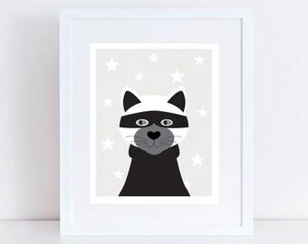 cat print cat art - cat burglur - black and white kids room decor, mono wall art for kids print black and white nursery decor cat lover gift