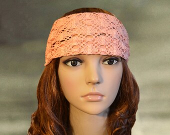 Bohemian headband, Wide lace headband, Boho bandana, Romantic head band, Boho lace head wrap,Fitness Yoga bandana, Work out headband,