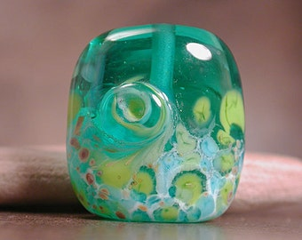 Lampwork Glass Focal Bead, Square Nugget Lampwork, Teal Lime Turquoise, Divine Spark Designs, SRA