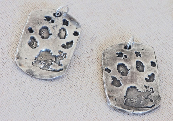 Large Military style dog tag - Paw print Necklace - Fingerprint jewelry - 28mm x 40mm - Deceased Pet