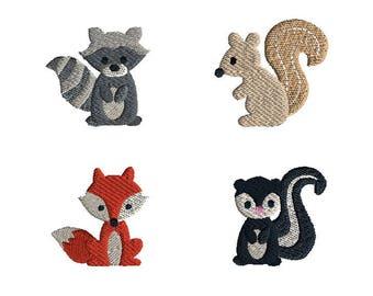 Mini Woodland Animals 2 Machine Embroidery Design Set-INSTANT DOWNLOAD