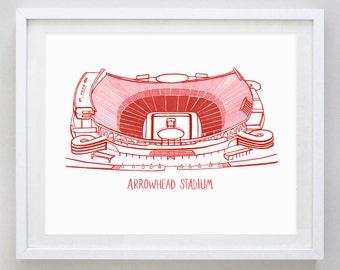 Arrowhead Stadium Kansas City Watercolor Print