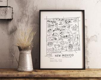 New Mexico Poster / New Mexico Print / Nursery Print New Mexico Map / State Wall Art / Map of New Mexico Decor / Nursery Map