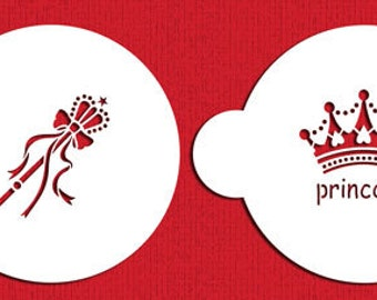 Princess Crown and Scepter Stencil Set for Cookies, Cakes & Cupcakes - Designer Stencils (C296) face painting