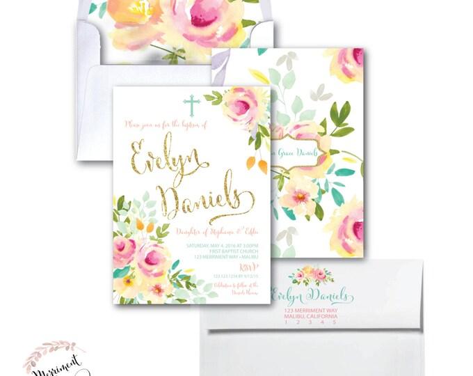 Floral Girls Baptism Invitation // Peony // Christening // First Communion // Peach //Pink //Mint //Gold Glitter//Yellow// MALIBU COLLECTION