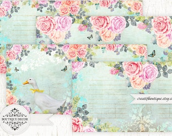 Roses Vintage Printable Journal Kit. Instant Download.