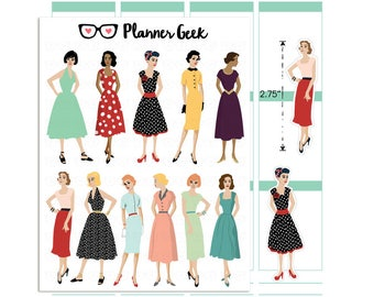 Retro ladies planner stickers - retro housewife stickers