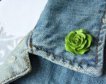 Green Rose Lapel Pin (large)