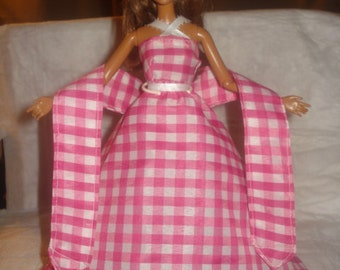 Pink & white checked formal dress, shall and Tulle slip for Fashion Dolls - ed455