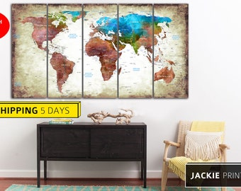 Grunge World Map, Map of the World, World Map Canvas, World Map, Abstract World Map, Canvas World Map,  Wall World Map