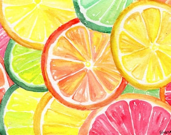 Original Orange, Lemon, Grapefruit slices Watercolor Painting Original, Fruit watercolor art, original watercolor of citrus fruit, 4 x 6