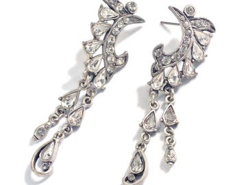 Crystal Crescent Wedding Earrings, Silver Bridal Earrings, Dangling Crystal Wedding Earrings, Vintage Bride Jewelry E1145