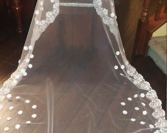 Flower Veil, Cathedral Veil, Long White Veil, Flower Applique Veil, Rhinestone Veil, Long Bridal Veil, White Veil, Long Cathedral Veil