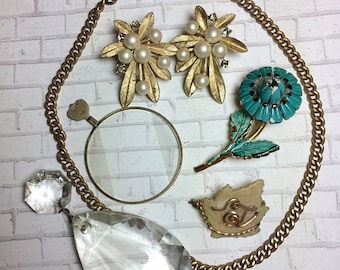ON SALE Vintage Assemblage Lot- Trifari Pearl Earrings- Optical Lens- Chandelier Crystal  Flower Brooch- Watch Fob- Found Objects