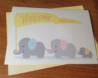 New Baby Cute Elephants Card. Welcome Little One. Yellow, Pink, or Blue