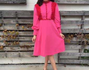 Ultra Feminine Poly/Velvet Floral Dress