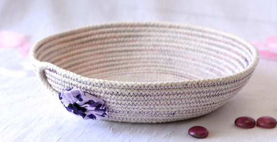 Handmade Minimalist Basket, Modern Clothesline Basket, Violet Candy Bowl, Rustic Desk Accessory, Primitive Coiled Natural Rope Bowl