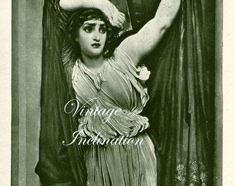 Antique Photogravure Print, Beautiful Lady in The last Watch of Hero, print circa 1920