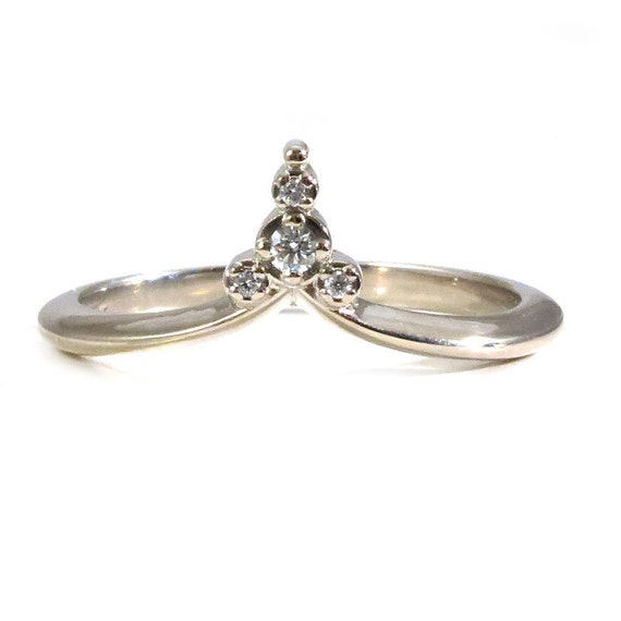 Pointed Diamond Stacking Side Band - Modern Art Deco Delicate Diamond Ring