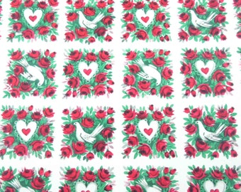 Vintage Valentine's Day Wrapping Paper or Gift Wrap with Red Roses Hearts and Doves by Pleasant Thoughts