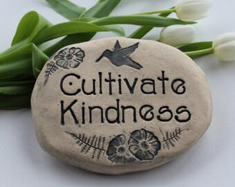 """Garden art - Kindness Garden stone - handmade ceramic art - hummingird scene, flowers - """"Cultivate Kindness"""" thought for the day"""