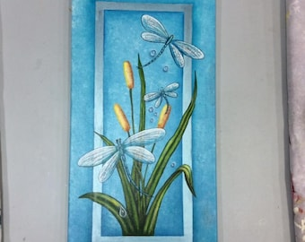 Large Painting of Dragon Flies and Bullrushes