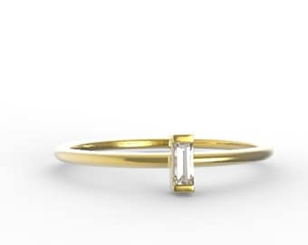 Diamond Baguette Engagement Ring .06 Carat Diamond with Yellow Gold Conflict Free