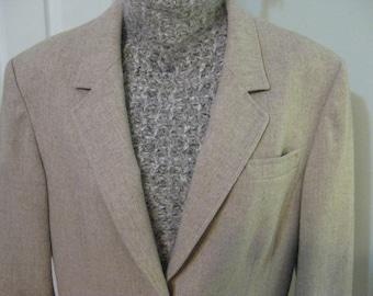 Vintage Pendleton Beige Wool Blazer, Small Size, 100% Virgin Wool, Made in USA