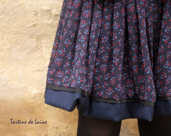 Ball skirt Navy patterns Retro viscose chiffon. Retro Swing skirt red and Navy