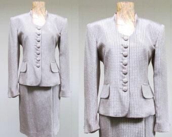 Vintage 1980s Christian Dior Suit / 80s Gray Beige Silk Rayon Jacket Pencil Skirt Suit / Size 6