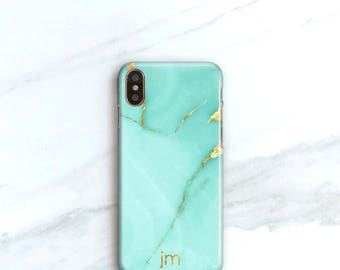 iPhone X Case Turquoise Marble iPhone 8 Case, Monogrammed Case for iPhone 8 Plus Personalized Gift For Her Aqua Marble Gift for Godmother