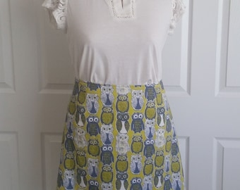 A-line Owl Skirt in Green, Blue, and White, XL, XXL, 100% Cotton, 16