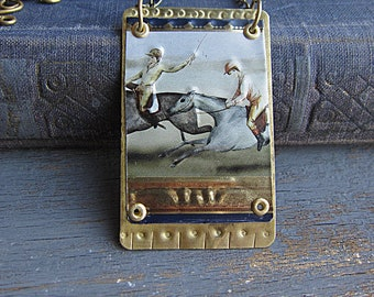 Horserace Pendant, Rider, Brass Recycled Tin Pendant, Rectangle Boho Rustic Pendant, Vintage Necklace, Mixed Metal, Bohemian Horse Pendant