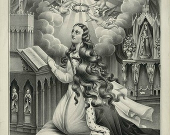 antique catholic religion lithograph Mary Magdalene in prayer DIGITAL DOWNLOAD