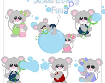 Bubble Blowing Fun 1 Clipart (Digital Zip Download)